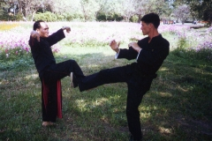 MAster-Joe-Kherliang-and-Jurg-Rotmann-practicing-crane-stlye-kung-fu